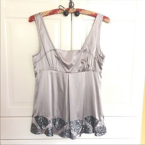BEBE grey silk tank top sleeveless sequins camis S